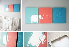 Artsy Wall Painting Ideas For Your Home 03 Diy Canvas, Canvas Wall Art, Diy Bebe, Baby Painting, Wall Decor, Room Decor, Elephant Art, Elephant Nursery, Giraffe