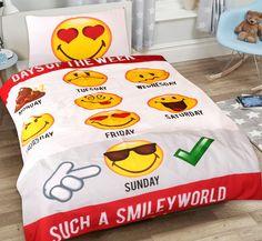 Super leuk kinderdekbedovertrek voor zowel meisjes als jongens, met een print van gezellige emoji's. Voor elke dag van de week is er een emoticon afgebeeld! Emoticon, Prints, Smiley