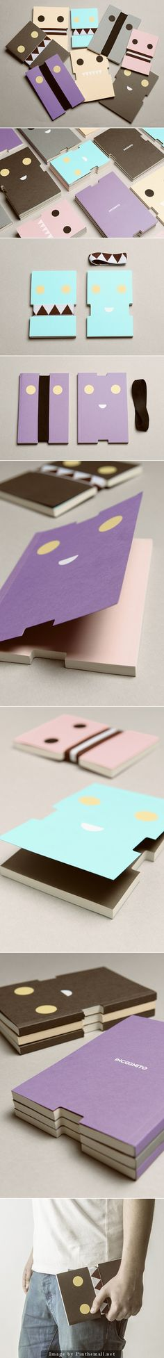 Incognito is a clever way to hide & show the gestures of notebooks. The notebooks are the outcome of an interesting die cut, combined with textile bands. Just take off the band and see what your notebook looks like. happilyeverpaper.com