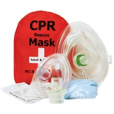 CPR Pocket Resuscitator Mask, Adult/Child & Infant & 2 Valves, MCR Medical: Sized to fit more appropriately on the smaller face of an infant, the separate infant mask comes with its own valve and is constructed from the same quality transparent material as the adult mask, but is not collapsible.  A belt loop and clip on the zippered red nylon case keeps your barriers rescue ready while a pair of size large nitrile gloves, instruction sheet and two alcohol prep pad completes the set.
