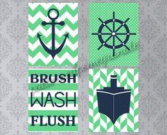 Nautical Bathroom Printable Art Set, Brush Wash Flush Sign, Anchor