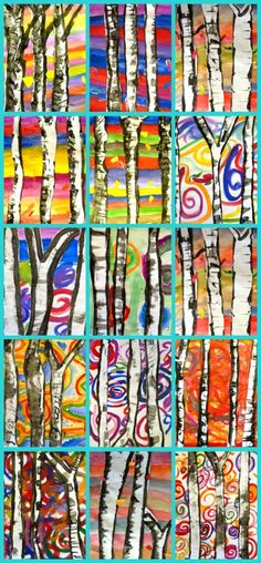 Birch Trees Art Lesson A perfect Fall or Winter birch tree art project. There are lots of variations to this lesson but kids love to paint the colorful backgrounds. Middle School Art, Art School, High School, Art 2nd Grade, Second Grade, Classe D'art, Birch Tree Art, Ecole Art, School Art Projects
