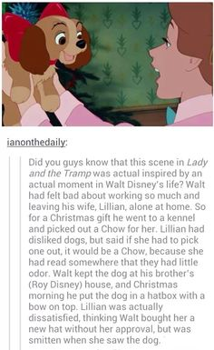Awww, cute true Walt Disney story. And he actually gave it to her after he forgot about their dinner date.