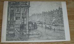 Ansichtkaart – Anton Pieck – Brouwersgracht te Amsterdam – Boekenwurm