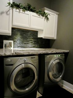 52 Chic Laundry Room Design Ideas To Inspire You Here is a great collection of laundry room decor ideas, wall art, signs, laundry room ideas ikea and small laundry room ideas. Laundry Room Remodel, Basement Laundry, Small Laundry Rooms, Laundry Closet, Laundry Room Organization, Laundry Room Design, Laundry In Bathroom, Laundry Organizer, Washroom