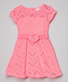 Look what I found on #zulily! Pink Chevron Eyelet Flower Dress - Infant, Toddler & Girls #zulilyfinds
