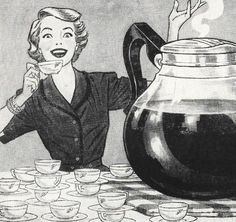 Mother's 'Little' Coffee Break - no wonder her home is so spotless! ~ 1953 ad.