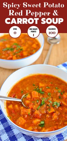 Delicious Spicy Sweet Potato Red Pepper and Carrot Soup a family favourite I Suppen Red Pepper Soup, Stuffed Pepper Soup, Stuffed Sweet Peppers, Slimming World Soup Recipes, World Recipes, Sweet Potato Carrot Soup, Sweet Potato Recipes, Red Pepper Recipes, Turkey Soup