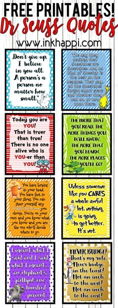 Dr Seuss printables! 8 quotes that also can serve as YW value posters.