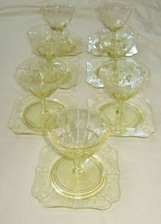 YELLOW DEPRESSION GLASSES MATCHING DESSERT OR UNDER PLATES ETCHED FLORAL PATTERN