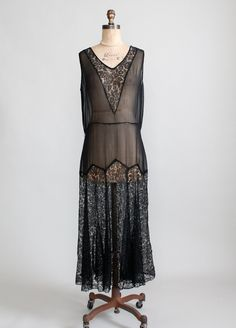 Vintage 1920s Black Lace and Chiffon Flapper Dress & Jacket