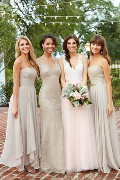 This place has a ton of cute bridesmaid dresses. I love the one to the left of the bride!