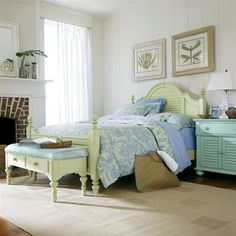 Stanley Furniture Coastal Living Cottage Summerhouse Bed 3 Piece Bedroom Set In Sea Gr And Morning Sky Lowest Price Online On All