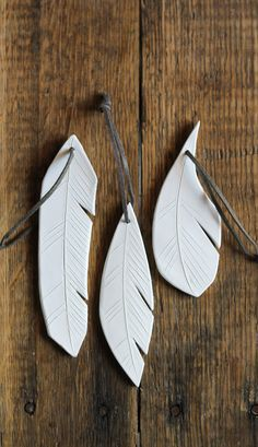 Ceramic feather ornaments