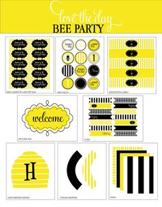 Party printables for bee theme in black and yellow.