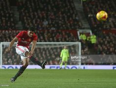Marcus Rashford of Manchester United has a shot on goal during the EFL Cup Semi-FInal first leg match between Manchester United and Hull City at Old Trafford on January 10, 2017 in Manchester, England.