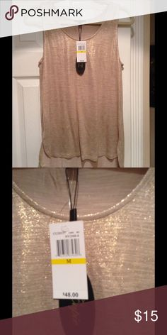 Gold metallic stretch tank top NWT Brand new never used received as a gift. This is a size medium and I wear size L or XL. Excellent quality. Cupid Tops Tank Tops