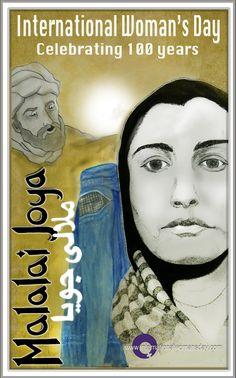 Designed by Lynn Greer for the centennial celebration of International Women's Day - Malalai Joya is a heroine of Afghanistan.