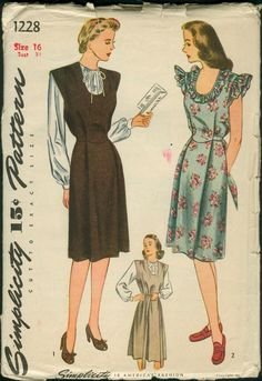 Simplicity 1228; ©1944; Unprinted pattern. Maternity Jumper, Blouse and Sun Dress: The jumper and sun dress are styled with gathers at the shoulder. The dress may be adjusted by the soft pleat at front to which the tie belt is joined. The loosely fitted blouse has a drawstring neckline. Choose long bishop sleeves or short sleeves finished with a drawstring. The sun dress is trimmed with ruffling at the neckline and armholes. [insert your photos of this pattern made up]