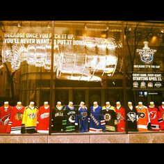 """NBC store is ready for the NHL playoffs! """"Because one you pick it up, you'll never want to put it down."""""""