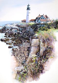 Portland Lighthouse Painting by Mike Hill - Portland Lighthouse Fine Art Prints and Posters for Sale Watercolor Architecture, Watercolor Landscape, Watercolor Artwork, Watercolor Illustration, Pictures To Paint, Art Pictures, Portland Lighthouse, Lighthouse Pictures, Lighthouse Painting