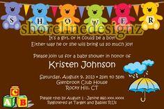 Personalized teddy bear theme baby shower invitation I Create UPRINT | ShorelineDesignz - Digital Art  on ArtFire