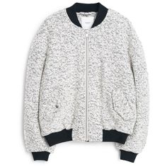 Speckled Bomber Jacket (120 CAD) ❤ liked on Polyvore featuring outerwear, jackets, white bomber jacket, zipper jacket, mango jacket, bomber jacket and lined jacket