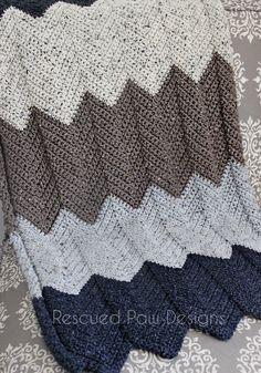 Neutral Chevron Crochet Blanket Pattern :: Rescued Paw Designs