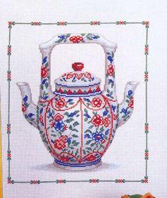 Double-Spouted Tea Pot of Ribbon Embroidery, Cross Stitch Embroidery, Cross Stitch Patterns, Cross Stitch Boards, Cross Stitch Kitchen, Le Point, Free Pictures, Elves, Tea Pots