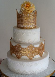 Gold and White Edible Lace Cake - by GaynorCakesUnlimited @ CakesDecor.com - cake decorating website