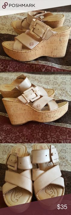 Born Women's Platform Wedge Sandals, Size 10 Perfect for Spring and Summer! These have not been worn, but have been in the closet for quite awhile, and need someone who will wear them! They are a very light natural tan leather, with cork platform wedge. Buckle is for decoration, does not adjust size. Non smoking home, please ask any questions. Born Shoes Platforms