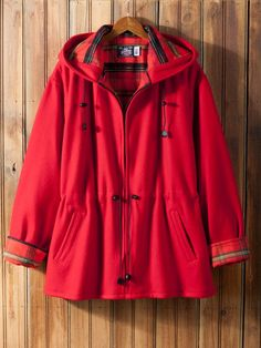 Anorak Jacket by Johnson Woolen Mills:  Fashioned from naturally water- and snow-resistant wool with a touch of nylon added for durability, this cozy jacket is fully lined with soft 100% cotton flannel in a contrasting plaid for the ultimate in warmth and time-honored style.
