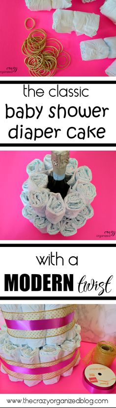 Do you love the classic diaper cake? Dress it up a bit with this modern sophisticated twist!