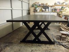 Custom Rustic Dining Table - Unique Modern Contemporary Double X Base Trestle Table