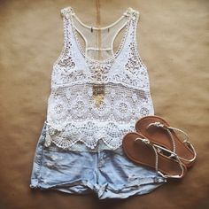 Lace and Crochet Cami Airy lace and crochet crop top. Brand is unknown due to the tag being removed. Shoulder to hem is 22 in. Size small. May fit an XS depending on desired fit. Tops Crop Tops