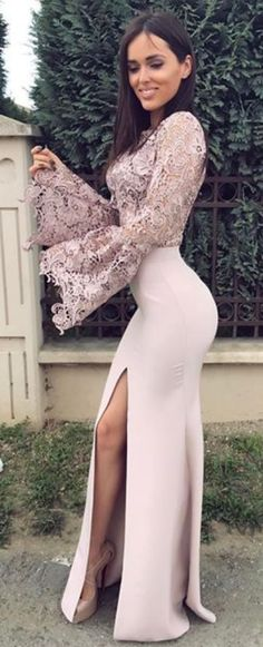 Mermaid Prom Dresses,Long Sleeves Prom Dress With Slit,Floor-Length Prom Dress,Lace Prom Dresses,DS292 #mermaid #sexy #lace #split #longsleeves #prom #okdresses