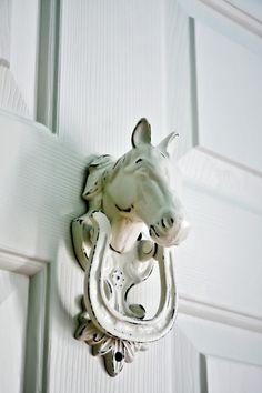 Hand poured door knocker for a teen equestrian closet by Rachel Greathouse Design