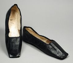 Pair of women's shoes, boarded leather lined with cotton twill and kid with leather soles, c. 1850, Czech.
