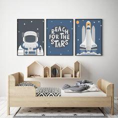 Lot de 3 Affiches Fusée Astronaute, Affiche Scandinave,Dessin Nordique, Deco Chambre bébé, Décoration Scandinave, Deco Enfant