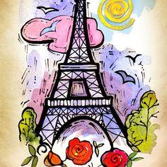 Eiffel Tower Paris France Art Print plus by PChristensenGallery