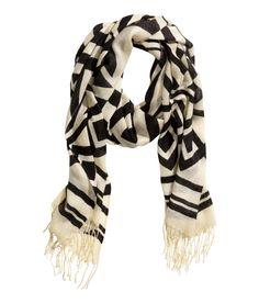Loose, lightweight scarf with printed black & white geometric pattern. | H&M Accessories