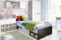 Jednolôžková posteľ z detského sektoru BOBY. Korpus postele má farebný odtieň šedý grafit, bočné časti sú biele. Úchytky zásuvky majú farbu modrá. #byvanie #domov #nabytok #postel #postele #jednolozka #detskapostel #modernynabytok #designfurniture #furniture #nabytokabyvanie #nabytokshop #nabytokainterier #byvaniesnov #byvajsnami #domovvashozivota #dizajn #interier #inspiracia #living #design #interiordesign #inšpirácia Toddler Bed, Furniture, Home Decor, Child Bed, Decoration Home, Room Decor, Home Furnishings, Home Interior Design, Home Decoration
