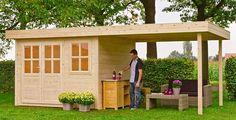 Blokhut / tuinhuisje model Lars 280 met overkapping 280 van Outdoor Life Products afmetingen tuinhuisje: 280 x 280 cm (b x d), breedte overkapping: circa 300 cm #tuinhuisje #blokhut #afdak #overkapping #lars