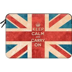 Keep Calm and Carry On Vintage Union Jack Flag by Girly Trend -... ($60) ❤ liked on Polyvore featuring accessories, tech accessories and macbook sleeve
