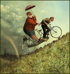 Marius van Dokkum, Dutch Artist and Illustrator Marius van Dokkum's paintings show humorous and recognizable scenes from everyday life. The artist believes that humor makes his work accessible. The artists's colorful paintings with pleanty of details have narrative character, without moralizing van Dokkum shows depicts human behavior and imperfections in humorous situations. His artwork also includes portraits, still lifes and lush landscapes.