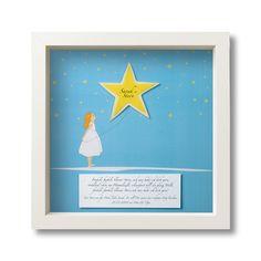 Ein leuchtender Stern nur für Dich! Durch eine phosphorisierende Folie leuchtet der Stern hinter Glas im Dunklen! Ein schönes Geschenk zur Geburt/Taufe oder dem Geburtstag! Mit der persönlichen...