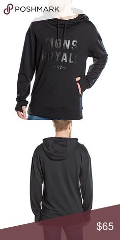MONS ROYALE Merino Men's Pullover Hoodie Black XL MONS ROYALE Merino Men's Pullover Hoodie Black Size XL. 100% Merino, relaxed fit, thumb holes, with kangaroo pocket. Super warm and breathable, quick drying. Thumb holes mean the sleeves won't bunch up when putting on coat. NWT. Mons Royale Shirts Sweatshirts & Hoodies