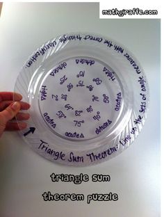 Plastic Plate Activities for Math Class (Math Giraffe - The Math Classroom Blog) & Triangle Inequality Theorem - Layered Plastic Plate Activity for ...