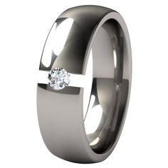 Lunar Eclipse Tension Set Titanium Wedding Ring