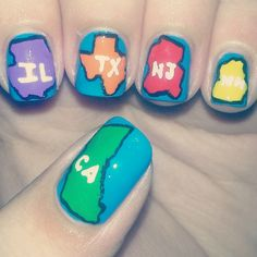 USA States Nails - Funny but wouldn't do it...